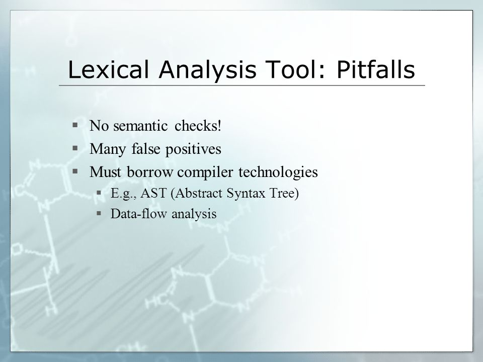 Lexical Analysis Tool: Pitfalls