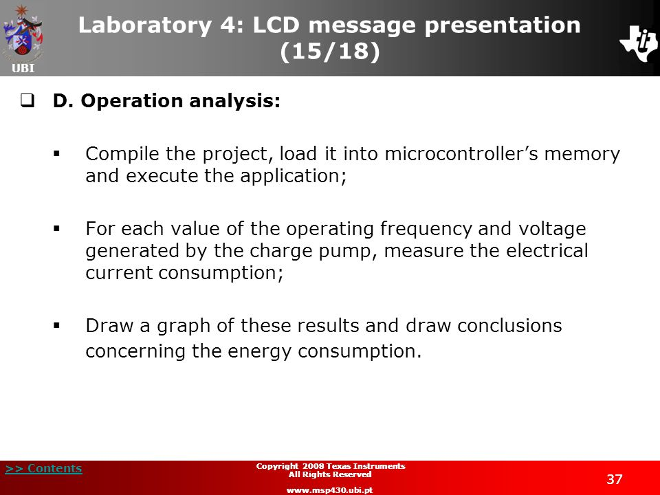 Laboratory 4: LCD message presentation (15/18)