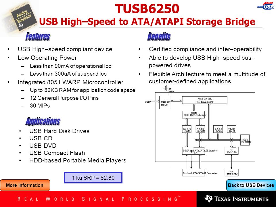 TUSB6250 USB High–Speed to ATA/ATAPI Storage Bridge