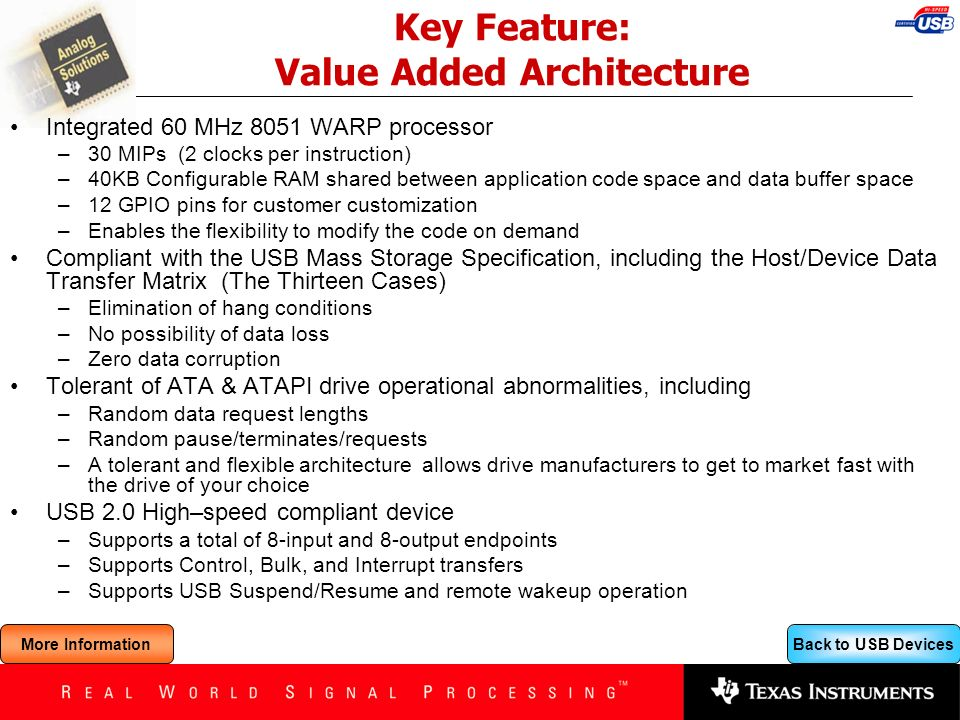 Key Feature: Value Added Architecture