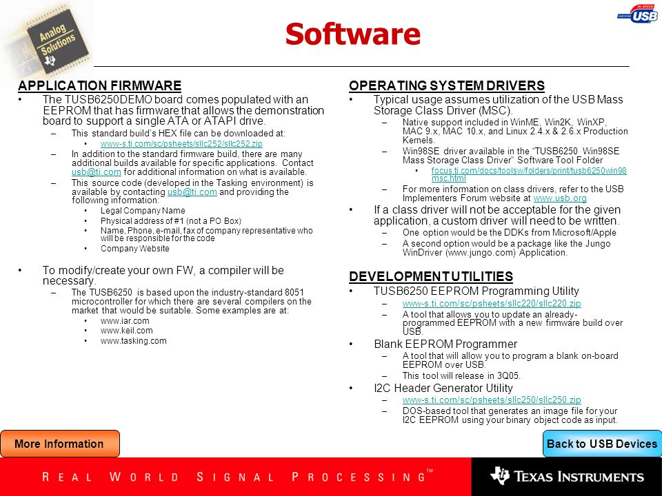 Software APPLICATION FIRMWARE OPERATING SYSTEM DRIVERS