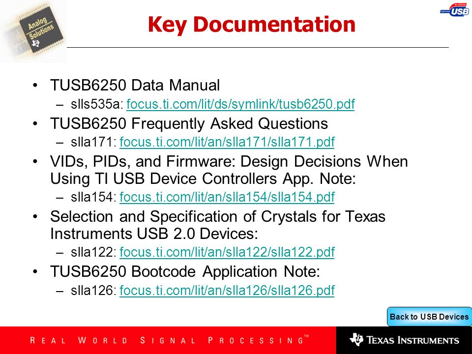 Key Documentation TUSB6250 Data Manual