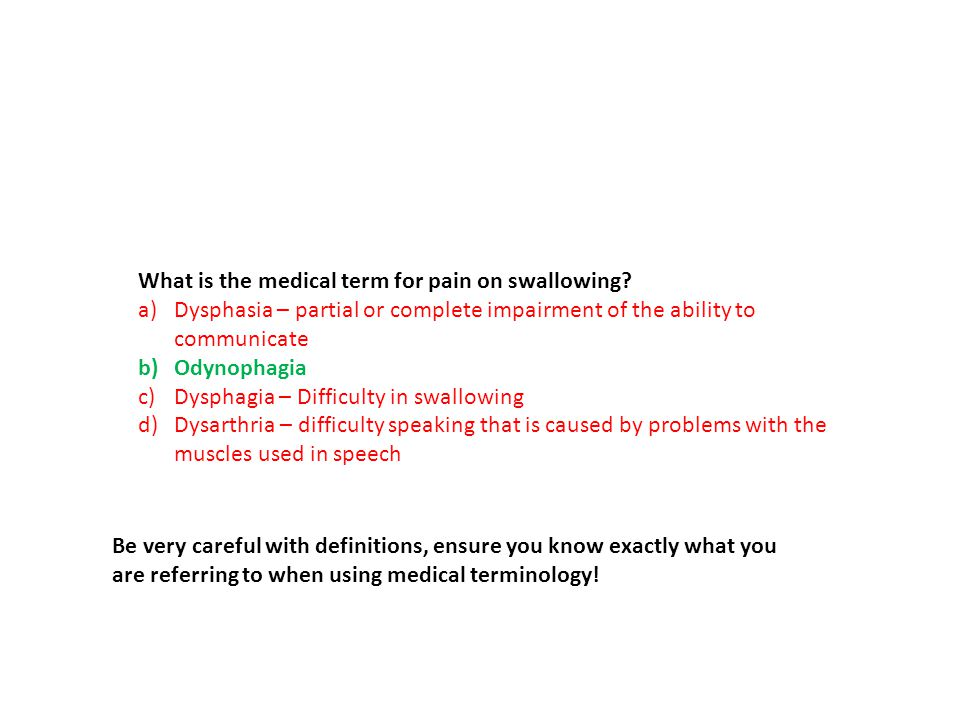 What is the medical term for pain on swallowing