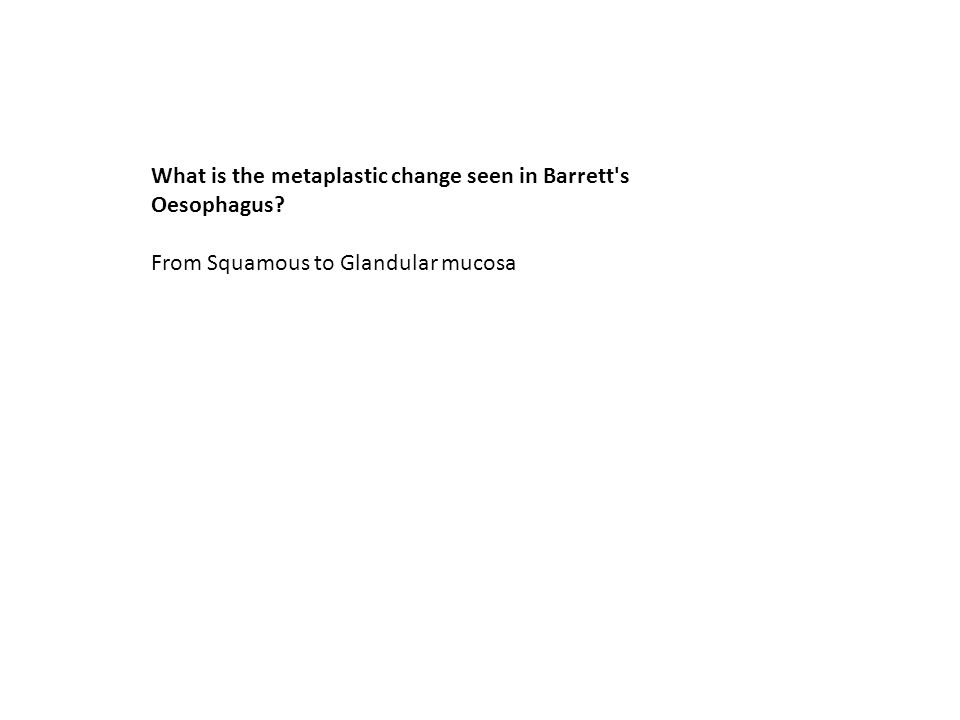 What is the metaplastic change seen in Barrett s Oesophagus
