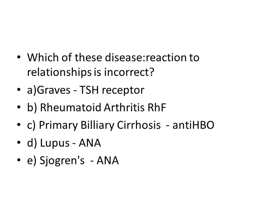 Which of these disease:reaction to relationships is incorrect