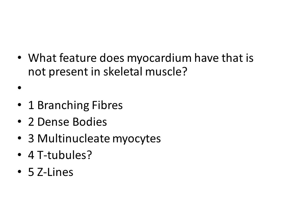 What feature does myocardium have that is not present in skeletal muscle