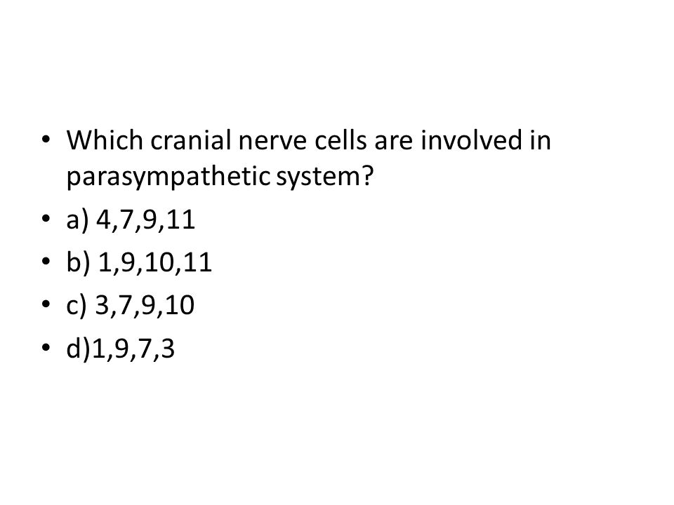 Which cranial nerve cells are involved in parasympathetic system