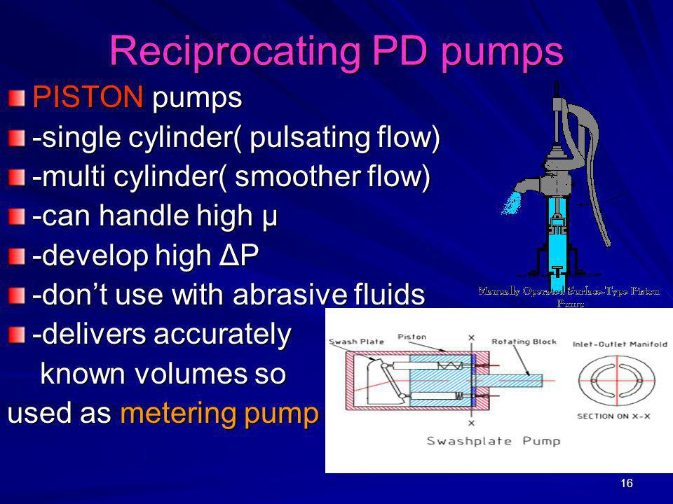 Reciprocating PD pumps