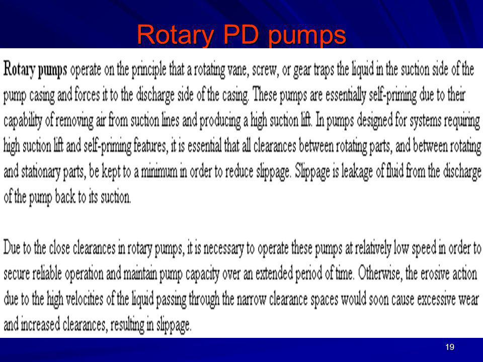 Rotary PD pumps