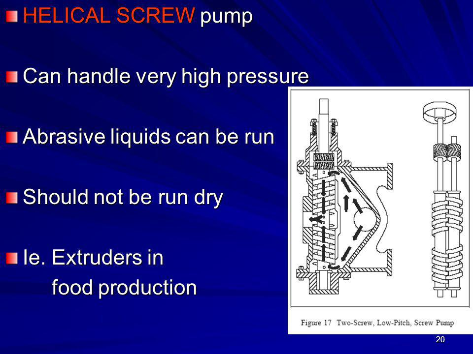 HELICAL SCREW pump Can handle very high pressure. Abrasive liquids can be run. Should not be run dry.