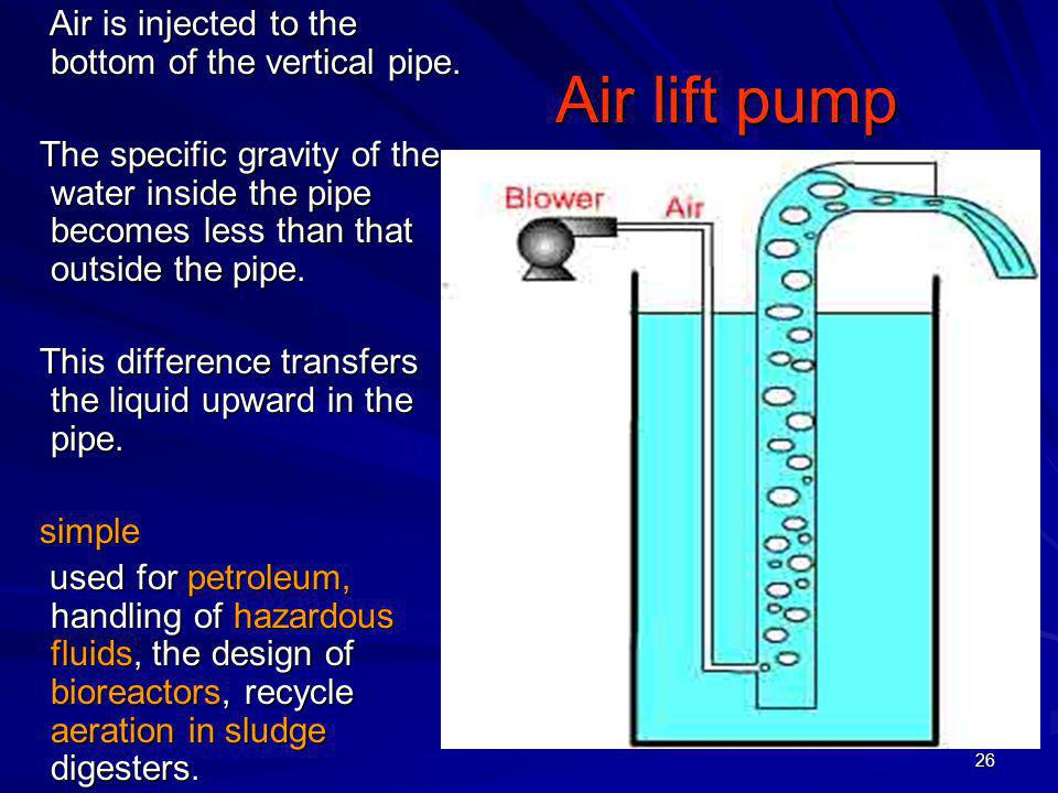 Air lift pump Air is injected to the bottom of the vertical pipe.