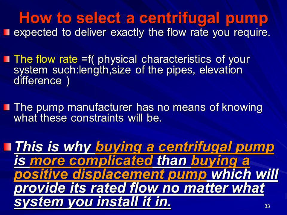 How to select a centrifugal pump