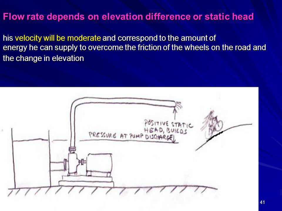 Flow rate depends on elevation difference or static head his velocity will be moderate and correspond to the amount of energy he can supply to overcome the friction of the wheels on the road and the change in elevation