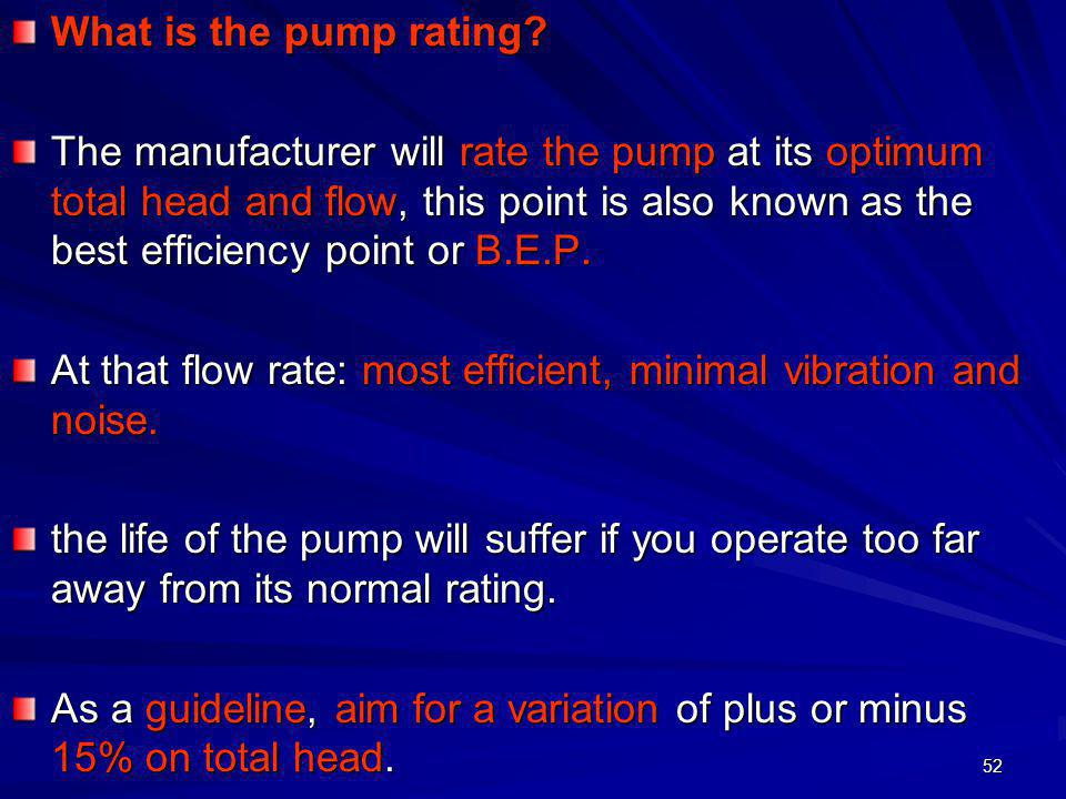 What is the pump rating