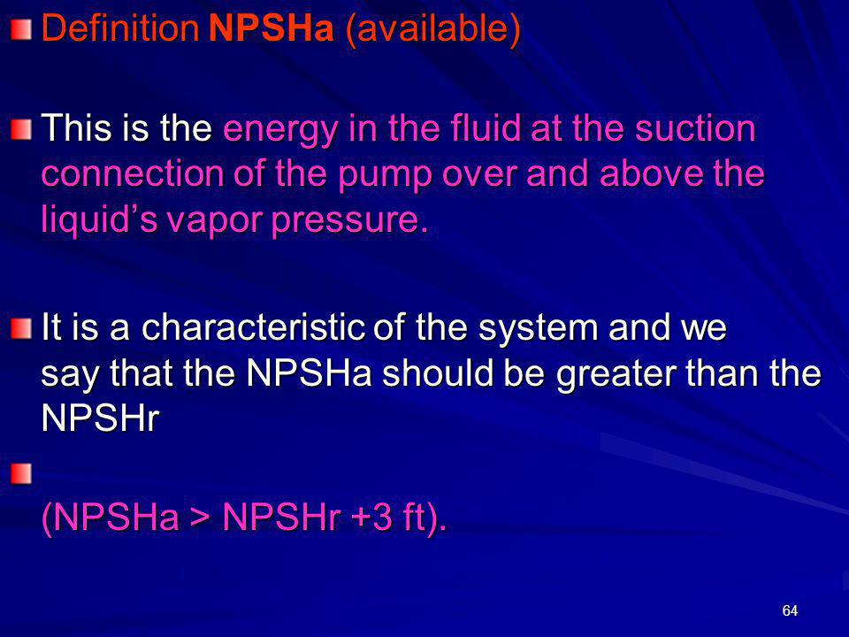 Definition NPSHa (available)