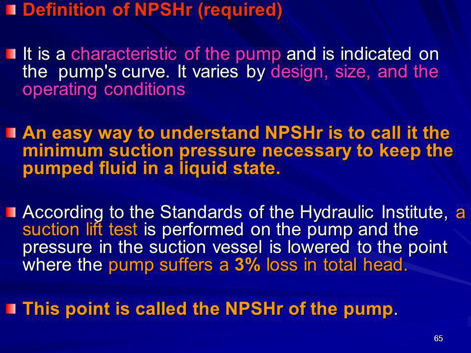Definition of NPSHr (required)