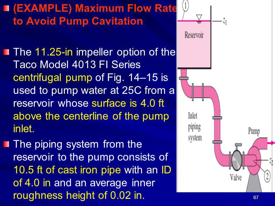 (EXAMPLE) Maximum Flow Rate to Avoid Pump Cavitation