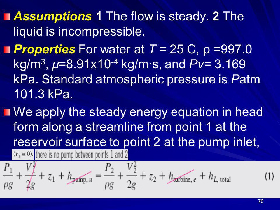 Assumptions 1 The flow is steady. 2 The liquid is incompressible.