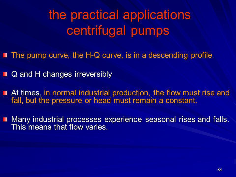 the practical applications centrifugal pumps