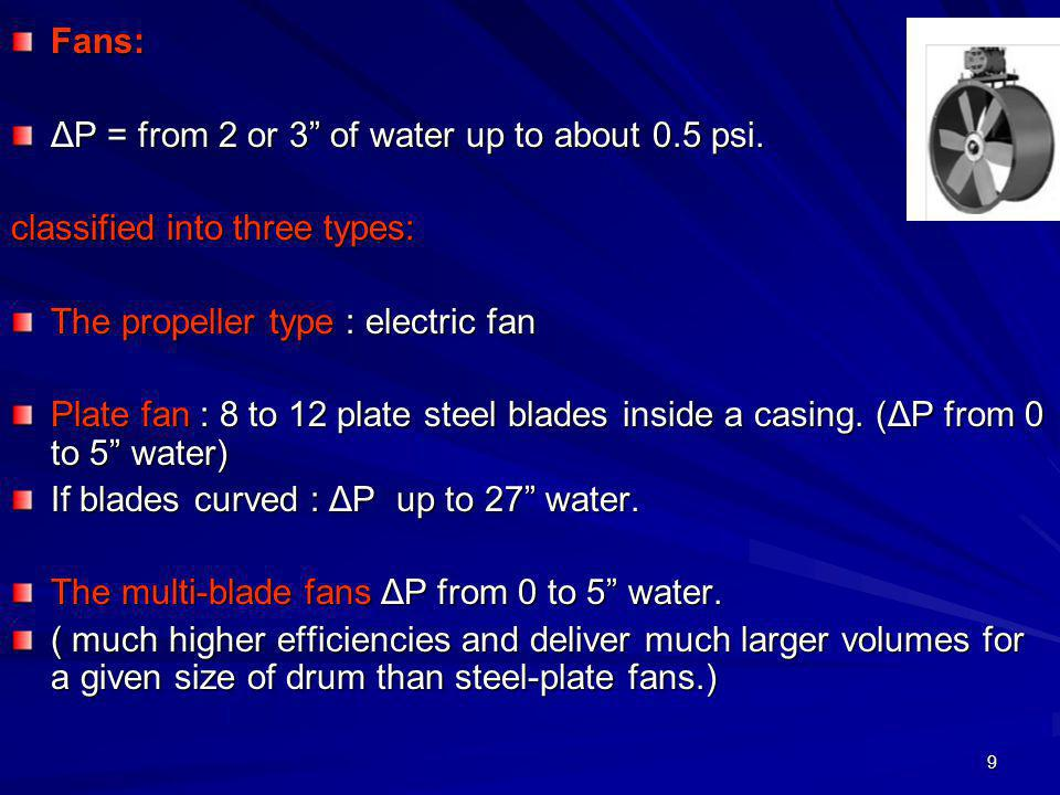 Fans: ΔP = from 2 or 3 of water up to about 0.5 psi. classified into three types: The propeller type : electric fan.