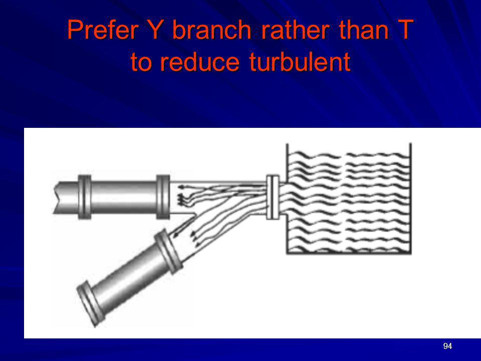 Prefer Y branch rather than T to reduce turbulent