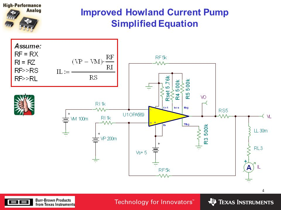 Improved Howland Current Pump Simplified Equation