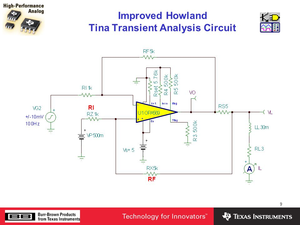 Improved Howland Tina Transient Analysis Circuit