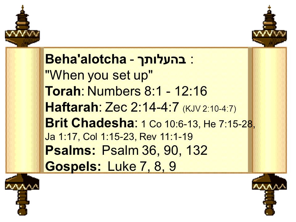 Beha alotcha - בהעלותך : When you set up