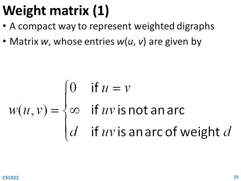 Weight matrix (1) A compact way to represent weighted digraphs
