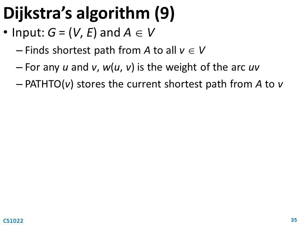 Dijkstra's algorithm (9)