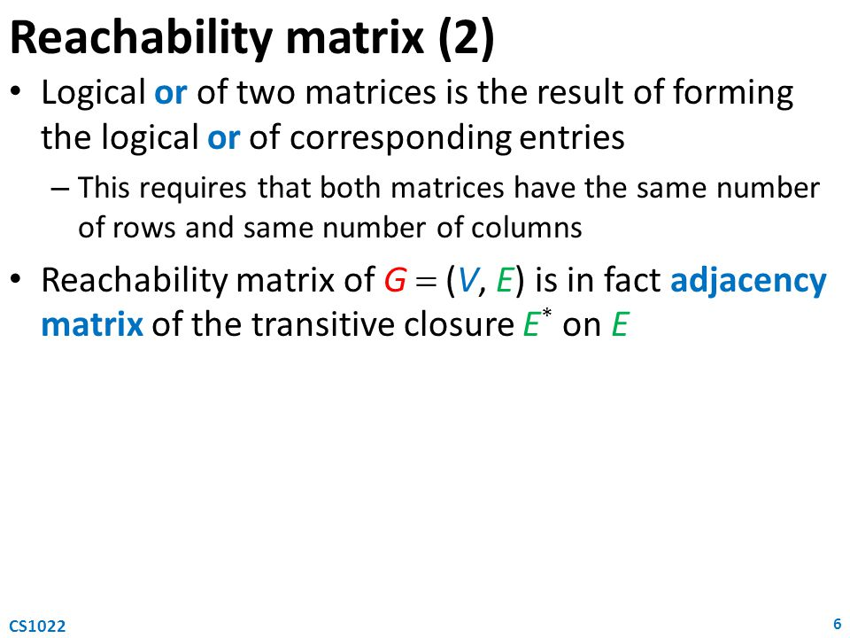 Reachability matrix (2)
