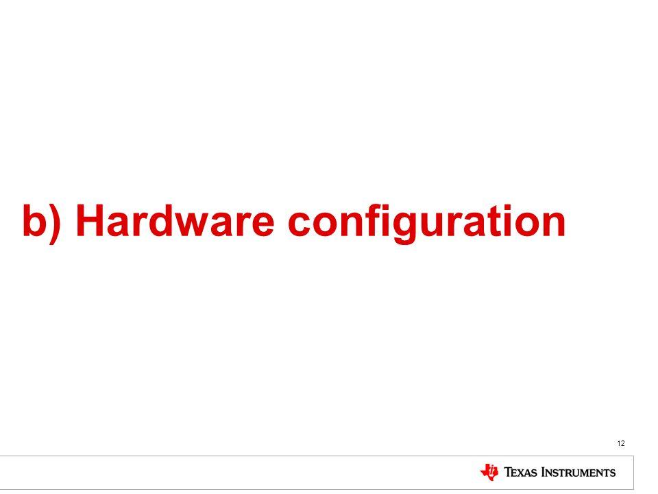 b) Hardware configuration