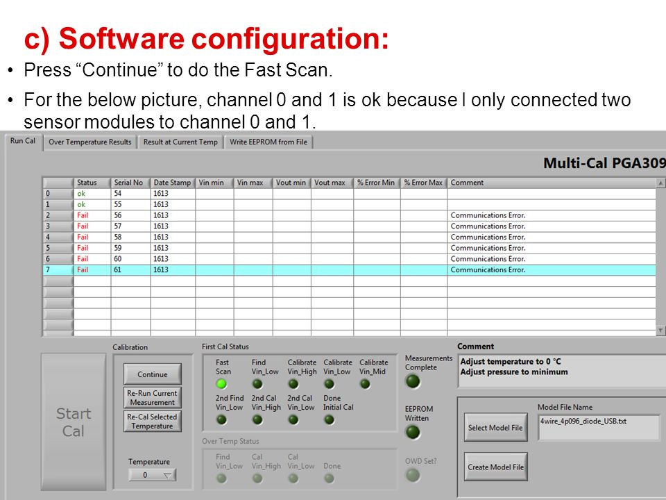 c) Software configuration: