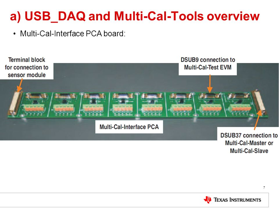 a) USB_DAQ and Multi-Cal-Tools overview