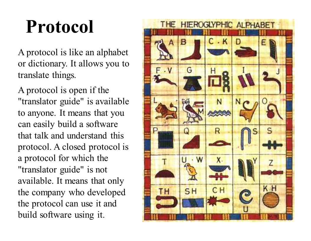 Protocol A protocol is like an alphabet or dictionary. It allows you to translate things.