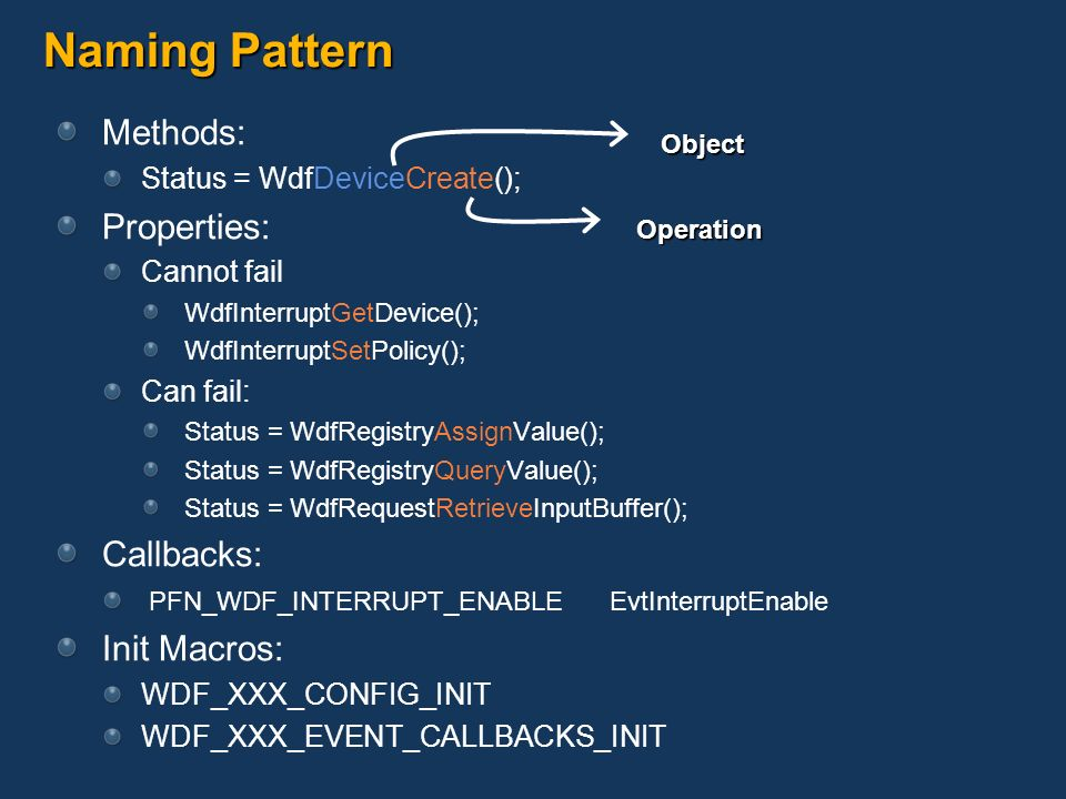 Naming Pattern Methods: Properties: Callbacks: Init Macros: