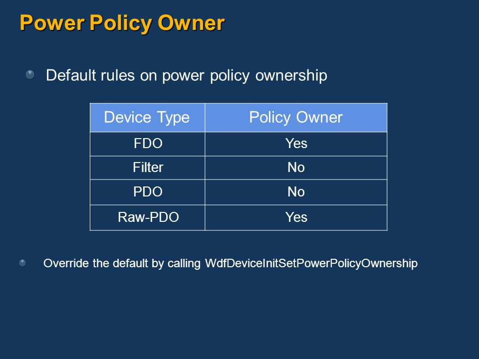 Power Policy Owner Default rules on power policy ownership Device Type