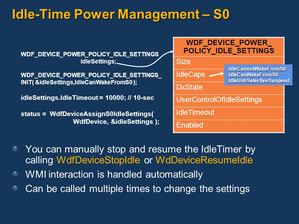 Idle-Time Power Management – S0