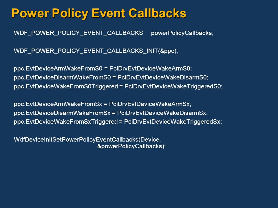 Power Policy Event Callbacks