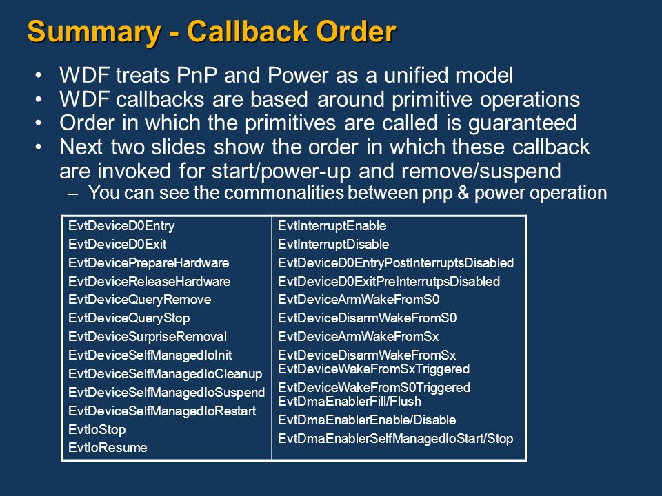 Summary - Callback Order