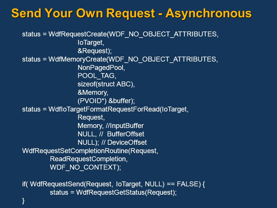 Send Your Own Request - Asynchronous