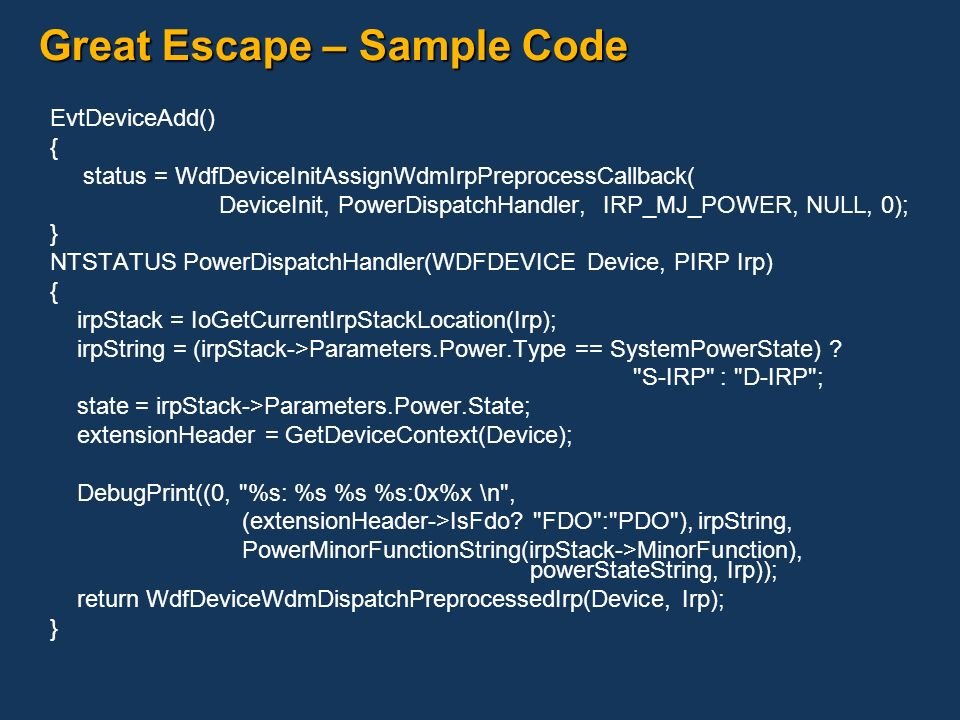 Great Escape – Sample Code