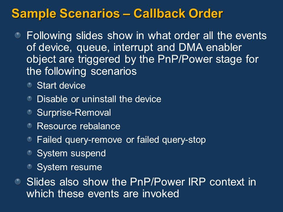 Sample Scenarios – Callback Order