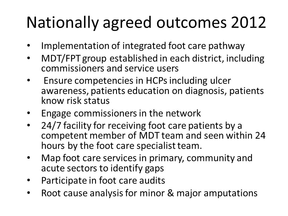 Nationally agreed outcomes 2012