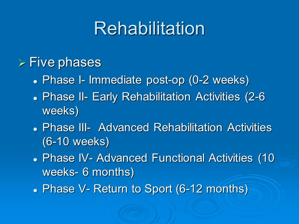 Rehabilitation Five phases Phase I- Immediate post-op (0-2 weeks)