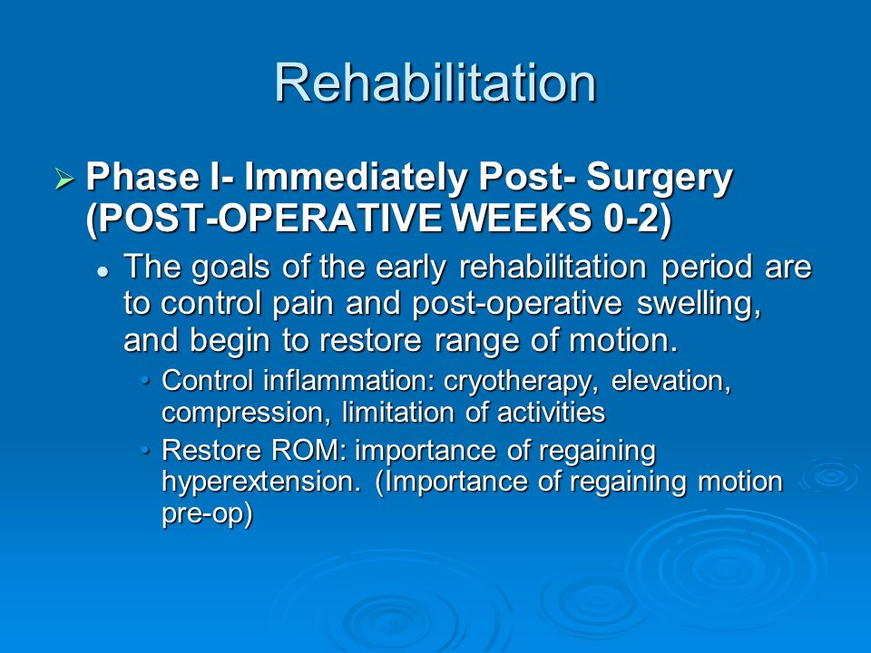 Rehabilitation Phase I- Immediately Post- Surgery (POST-OPERATIVE WEEKS 0-2)