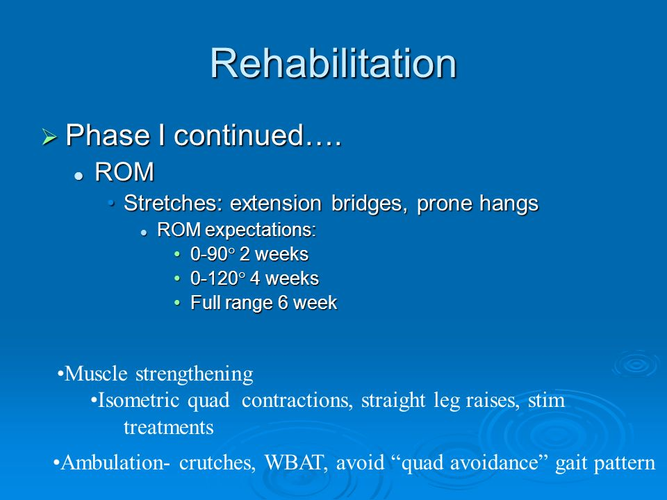 Rehabilitation Phase I continued…. ROM