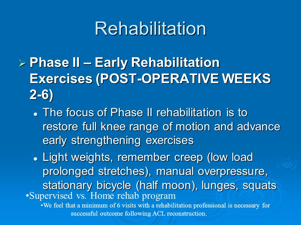 Rehabilitation Phase II – Early Rehabilitation Exercises (POST-OPERATIVE WEEKS 2-6)