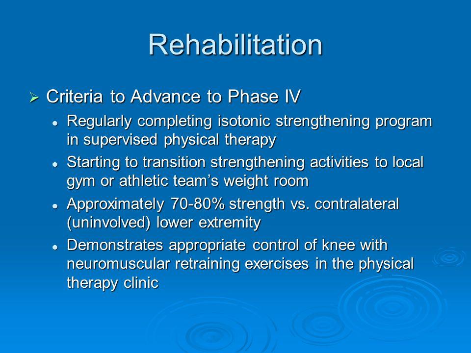 Rehabilitation Criteria to Advance to Phase IV