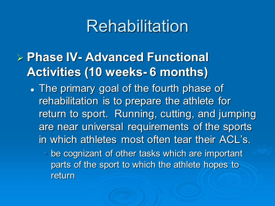 Rehabilitation Phase IV- Advanced Functional Activities (10 weeks- 6 months)